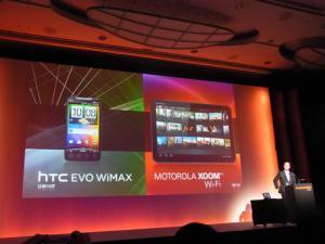 KDDIがAndroid 2.2スマートフォン『htc EVO WiMAX ISW11HT』とAndroid 3.0タブレット『MOTOROLA XOOM Wi-Fi TBi11M』を発表