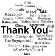 アップルのサポートアンケートに回答すると見れる世界各国の「ありがとう」 「Thank You」「ありがとうございます」「감사합니다」など