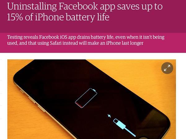 iPhoneのバッテリーを大量消費するFacebookアプリ、削除で15%も電池寿命UP