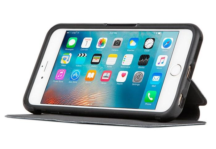iPhone 6s Plus/6 Plus用のスタンド機能・カードスロット付き本革製フォリオケース