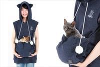 涼しいニャ! おなかのポッケに猫を入れられる「にゃんガルーパーカー」に夏用が登場!