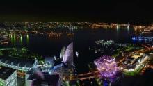 関東の夜景を見下ろす「スカイビアガーデン」--横浜ランドマークタワーの展望フロアで