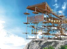 崖際に建てられた新アトラクション「マッスルモンスター」、3月25日オープン
