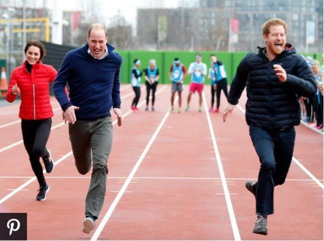 よーいドン!キャサリン妃、ウィリアム王子&ヘンリー王子と笑顔で50メートル走