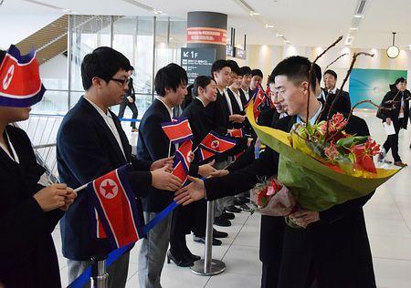 北朝鮮選手団が札幌到着=冬季アジア大会