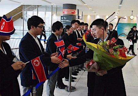 北朝鮮選手団が札幌到着