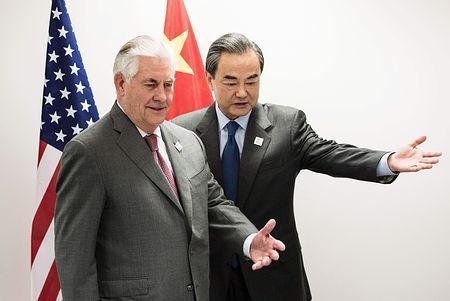 北朝鮮の挑発抑制、影響力行使を=米国務長官、中国外相と会談-「一つの中国」確認
