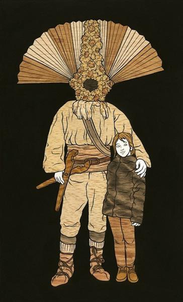 木にアクリル絵具で制作した作品が発表されるmoki氏の個展「暗がりでシェルターを探す」
