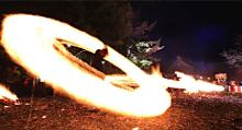 被災した阿蘇神社で「火振り神事」
