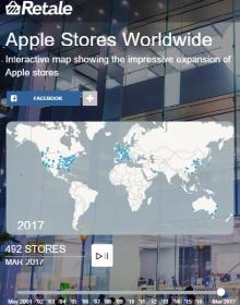 地図で見る、アップルストアが過去16年間で世界に進出していく様子