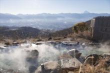 天空温泉へ!標高700mの富士山ビューに感動