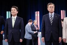 文氏「北の核放棄実現」=安氏、THAAD配備支持-大統領候補TV討論・韓国