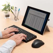 サンワサプライ、静音設計のワイヤレスキーボードとブルーLEDマウスのセットを発売