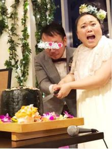 ニッチェ江上敬子、結婚パーティでシャンパンタワー&巨大寿司ケーキ