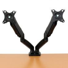 2つのディスプレイ角度や高さを固定できるガススプリング デュアルディスプレイアーム