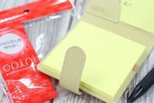 外出中のメモをスマートに--オシャレで実用的な付箋ケース「オピニ 持ち歩きふせんカバー」