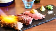 箸で切れるトロトロ牛タンなど3種の炙り肉寿司と日本酒のマリアージュ!新橋「蔵のや」で夏季限定提供