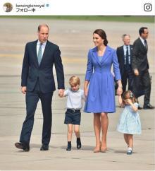 英ウィリアム王子一家が独訪問、ジョージ王子とシャーロット王女が激カワ