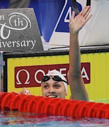 喜ぶマッセ、世界新=世界水泳