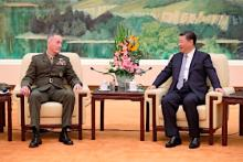 米統合参謀本部議長と会談する中国主席