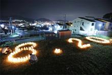 追悼の灯籠=広島土砂災害