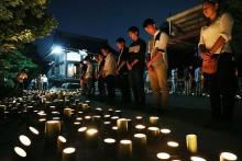 竹灯籠で犠牲者しのぶ=「地元のつながり感じて」-広島土砂災害から3年