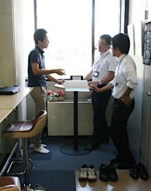 立ち会議で集中力向上=岡山県
